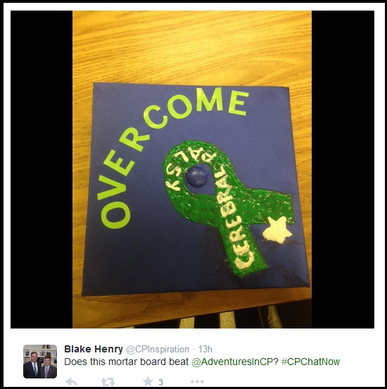 Blake's mortar board- overcoming cerebral palsy