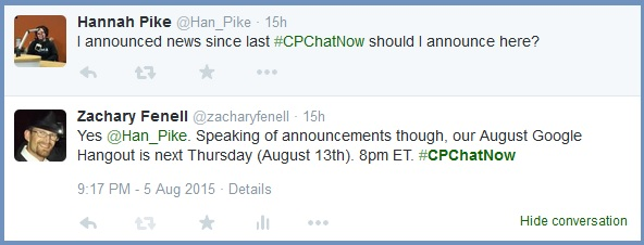 #CPChatNow August Google Hangout details
