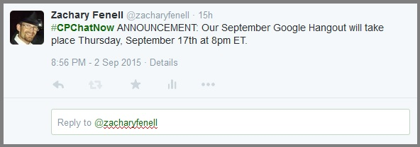 #CPChatNow September Google Hangout announcement