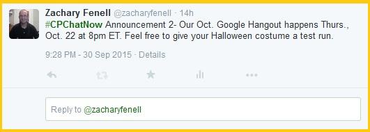 October #CPChatNow Google Hangout details