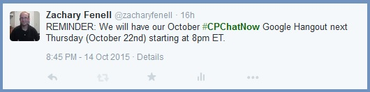 October 2015 #CPChatNow Google Hangout Reminder