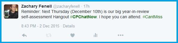December #CPChatNow Google Hangout reminder