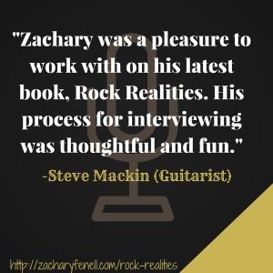 Steve Mackin on being interviewed for Rock Realities.