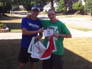 Michael Mannozzi and I exchange gifts during a recent visit with each other. Friendship is a two-way street!