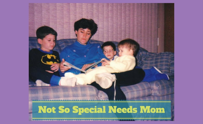 Not So Special Needs Mom, Zachary's mother reads to him and his two able-bodied brothers back when they were kids.