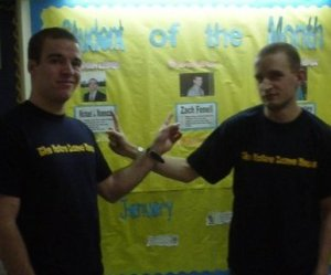 "January 2009- With fellow Notre Dame College Student of the Month award winner Michael Mannaozzi, ""The Italian Stallion."""