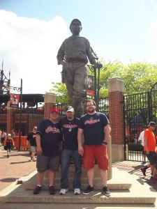 Rob, myself, and Pete pose for a picture with the Babe Ruth statue found outside Camden Yards.