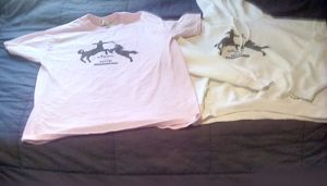"My original ""Normal is a myth"" order included a light pink t-shirt and white hoodie."