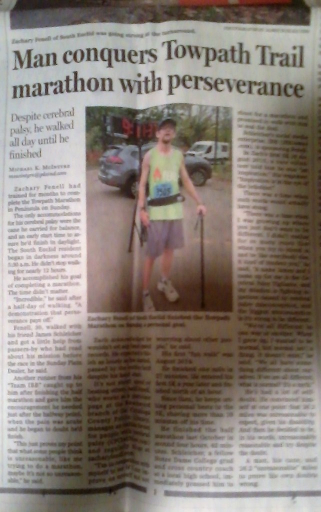 I made front page news after completing my first full marathon!
