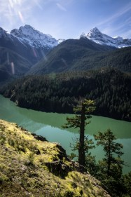 Diablo Lake with Colonial and Pyramid Peaks Towering Above
