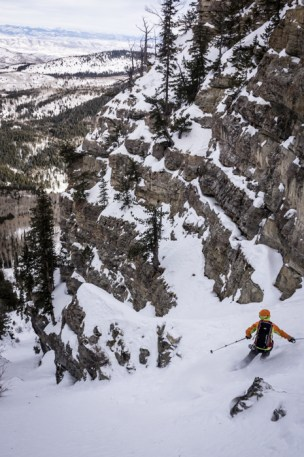 Dave Reed in the Surly Couloir (Facet Heaven)