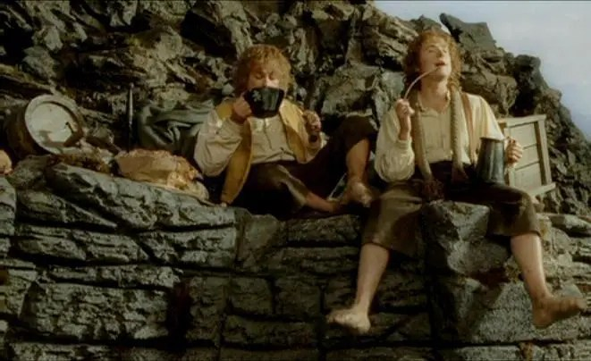 Pippin and Merry Eating at Isengard