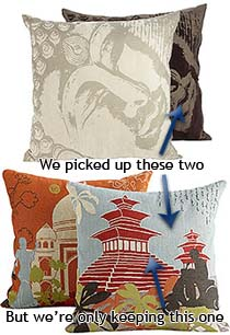 The darker one is the one we got.  Buddhahead Pillow from Pier One :: Zach Dotsey