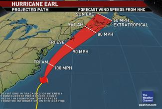 Hurricane Earl on Thursday Night