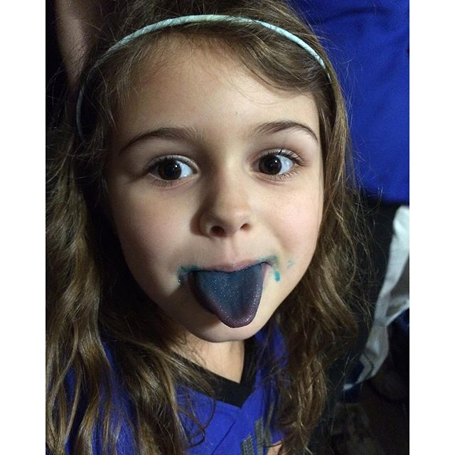 We didn't have any blue face paint, but blue cotton candy works just as well. #GoDuke #Meliamae