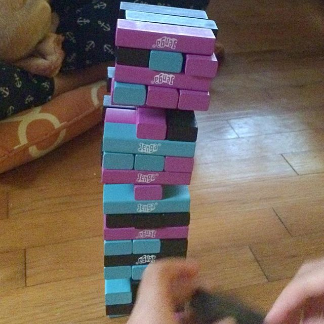 I'm not exactly sure how this #Jenga tower lasted more than a couple rounds. #Meliamae