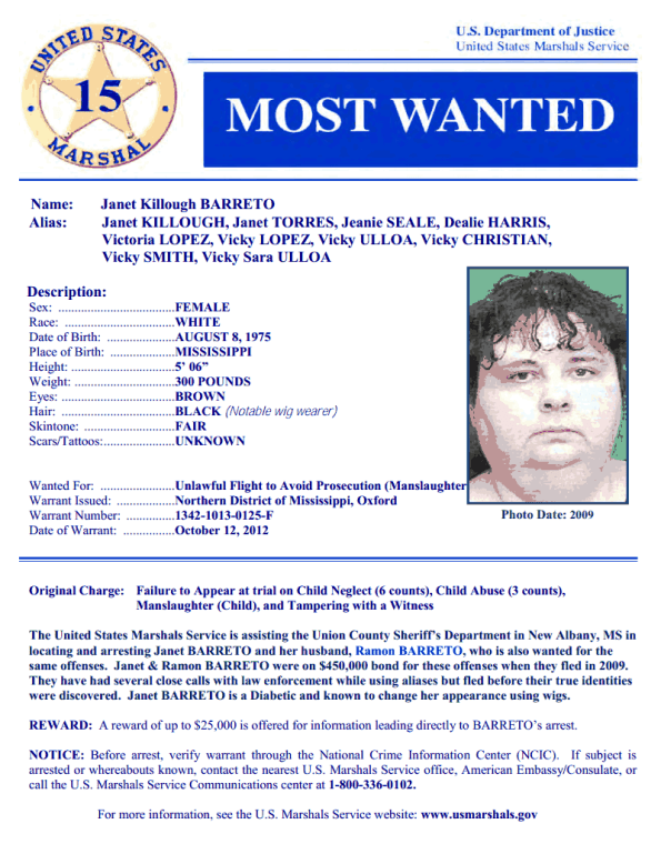 United States Marshals Service- Wanted- Janet Barreto- Tuesday, June 18th, 2013
