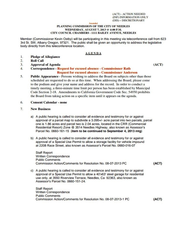 Needles Planning Commission Meeting- Agenda Picture- Wednesday, August 7th, 2013