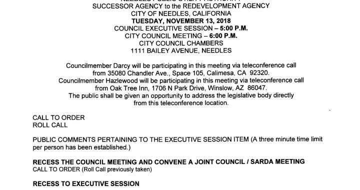 Needles, CA: Needles City Council, Needles Public Utility Authority, and Successor Agency to the Redevelopment Agency Meeting is today.