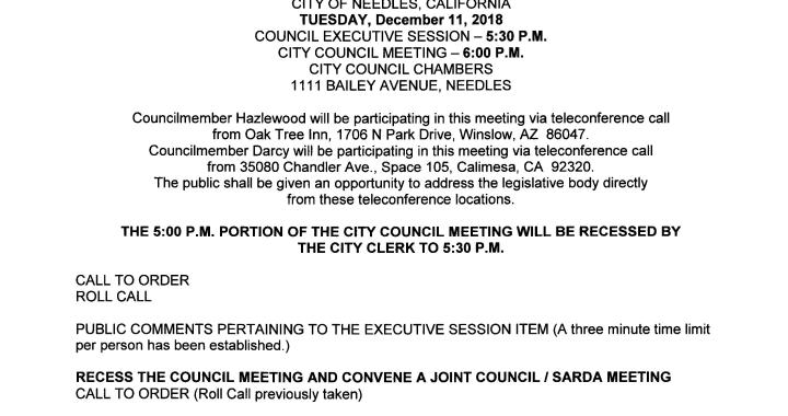 Needles, CA: Needles City Council, Needles Public Utility Authority, Successor Agency to the Redevelopment Agency Meeting and Oath of Office Ceremony on Tuesday.