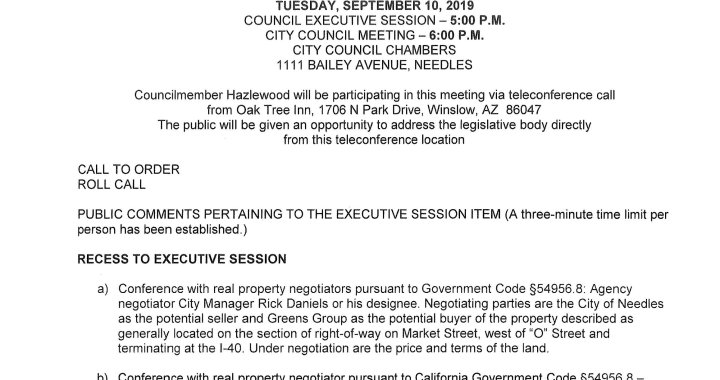 Needles, CA: Needles City Council, Needles Public Utility Authority, and Successor Agency to the Redevelopment Agency Meeting on Tuesday.