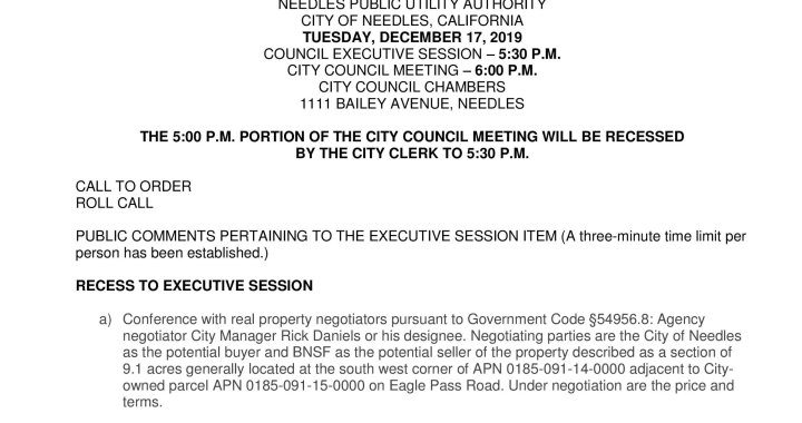 Needles, CA: Adjourned Needles City Council and Needles Public Utility Authority Meeting on Tuesday.