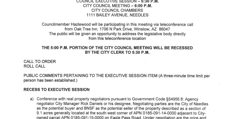 Needles, CA: Needles City Council and Needles Public Utility Authority Meeting is today.