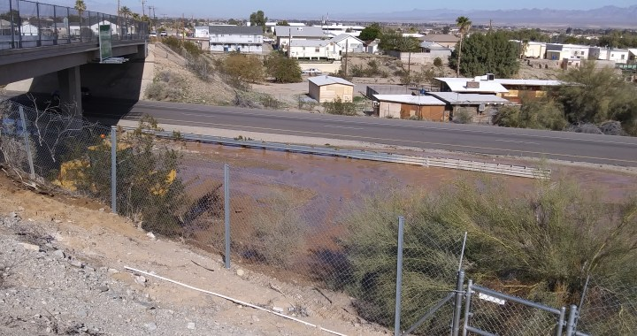 Breaking News: Needles, CA: Water line break causes mud to water to flow onto eastbound Interstate 40.