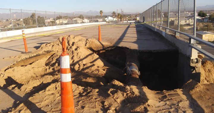 News Update: Needles, CA: Latest information regarding the water line break underneath the Lillyhill Drive bridge.