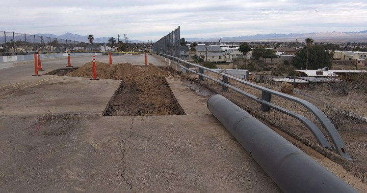 News Update: Needles, CA: Installation work of the new water line at the Lillyhill Drive bridge cancelled tonight and is delayed.