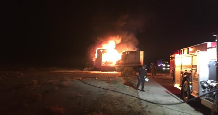 Breaking News: Apple Valley, CA: Fatalities reported in traffic collision fire involving two semi trucks along southbound Interstate 15.