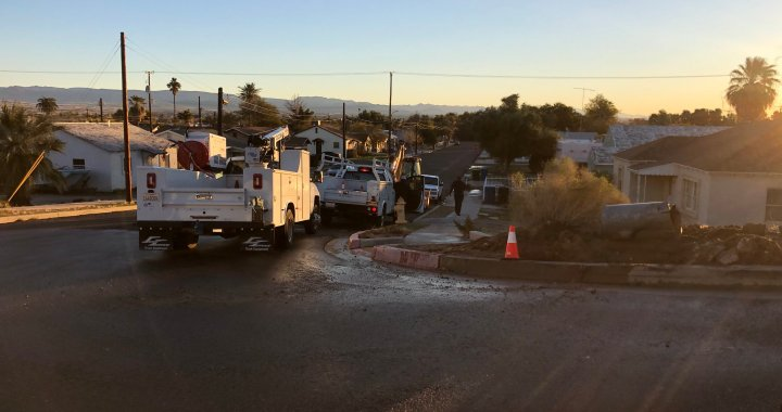 Needles, CA: Waterline hit by vehicle at the intersection of West Broadway and Walnut Street.