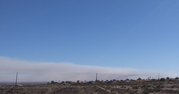News Update: Desert Hills, AZ: Lots of smoke from controlled burn at Blankenship Bend seen along Colorado River communities.