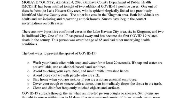 News Update: Mohave County, AZ: COVID-19 Information; Positive Cases: 17 and Deaths: 1.