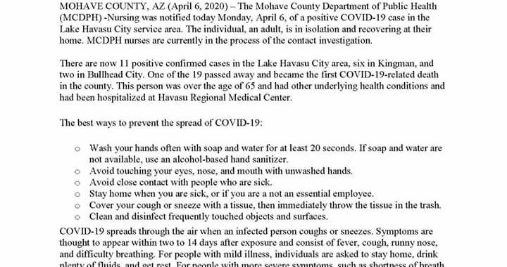 News Update: Mohave County, AZ: COVID-19 Information; Positive Cases: 19 and Deaths: 1.