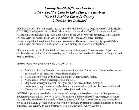 News Update: Mohave County, AZ: COVID-19 Information; Positive Cases: 31 and Deaths: 2.