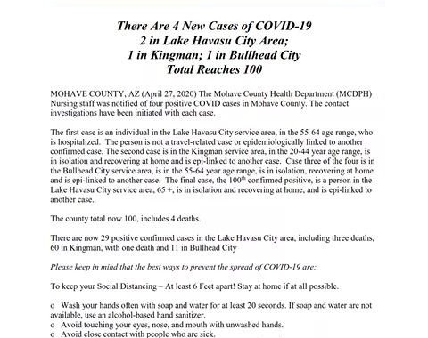 News Update: Mohave County, AZ: COVID-19 Information; Positive Cases: 100 and Deaths: 4.