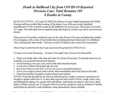 News Update: Mohave County, AZ: COVID-19 Information; Positive Cases: 105 and Deaths: 8.