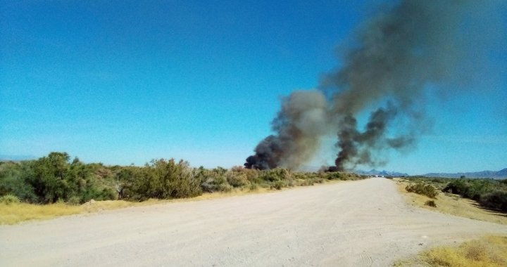 Breaking News: Mohave Valley, AZ: Vegetation fire burning near Riverfront Parkway.