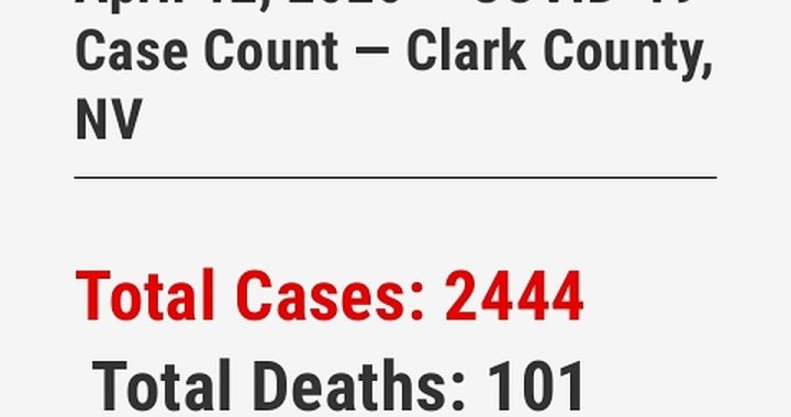 News Update: Clark County, NV: COVID-19 Information; Positive Cases: 2,444 and Deaths: 101.