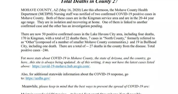 News Update: Mohave County, AZ: COVID-19 Information; Positive Cases: 246 and Deaths: 27.