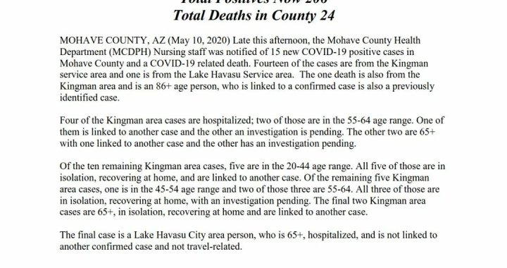 News Update: Mohave County, AZ: COVID-19 Information; Positive Cases: 206 and Deaths: 24.
