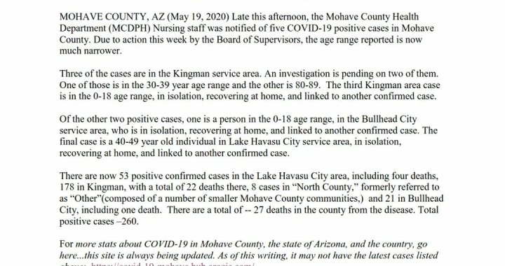 News Update: Mohave County, AZ: COVID-19 Information; Positive Cases: 260 and Deaths: 27.