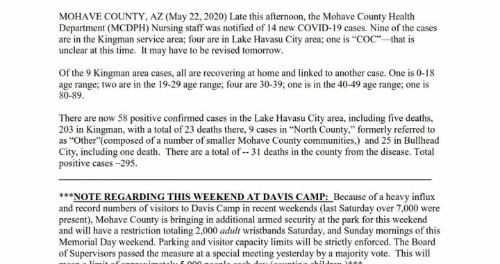 News Update: Mohave County, AZ: COVID-19 Information; Positive Cases: 295 and Deaths: 31.