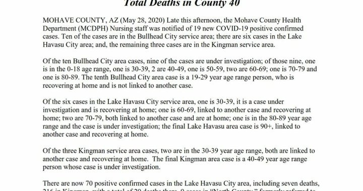 News Update: Mohave County, AZ: COVID-19 Information; Positive Cases: 364 and Deaths: 40.