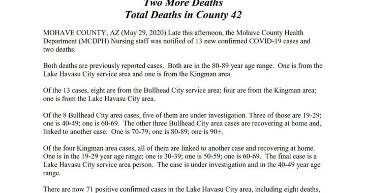 News Update: Mohave County, AZ: COVID-19 Information; Positive Cases: 377 and Deaths: 42.