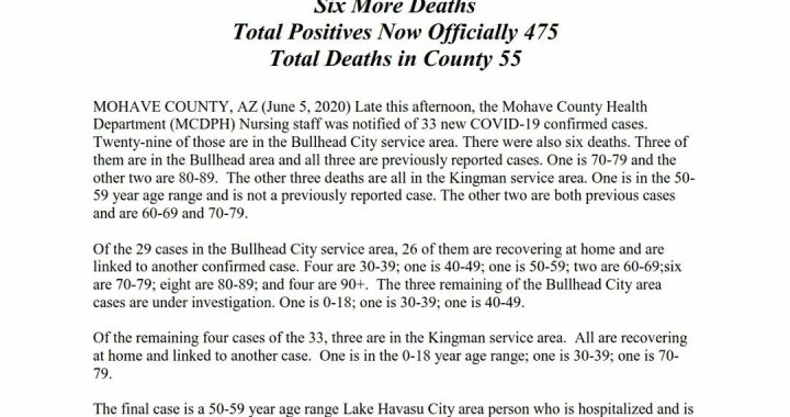 News Update: Mohave County, AZ: COVID-19 Information; Positive Cases: 475 and Deaths: 55.