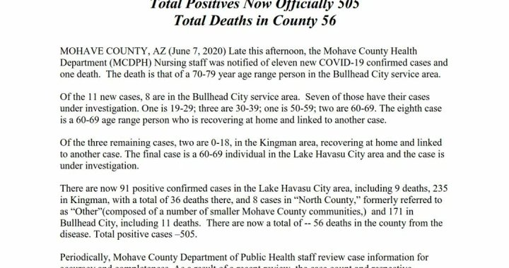 News Update: Mohave County, AZ: COVID-19 Information; Positive Cases: 505 and Deaths: 56.