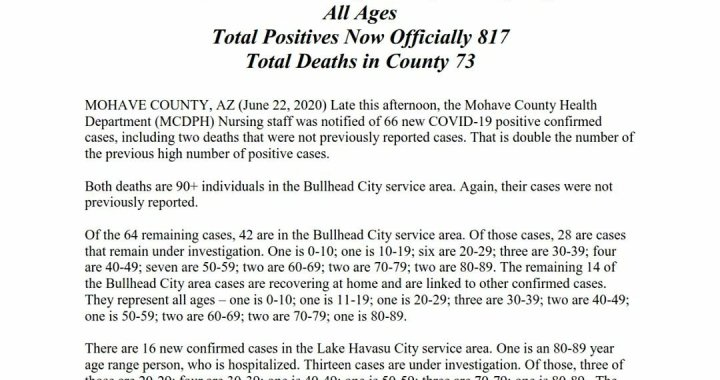 News Update: Mohave County, AZ: COVID-19 Information; Positive Cases: 817; Recovered Cases: 348; and Deaths: 73.