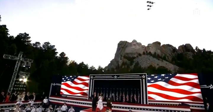 Live News Alert: Keystone, SD: President Donald Trump and First Lady Melania Trump visit Mount Rushmore to attend the fireworks celebration.